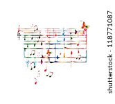 Colorful music background with butterflies. Vector - stock vector