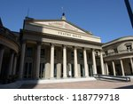 Building of theater Teatro Solis in Montevideo - stock photo