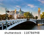 The Grand Palais, Paris, France and the Alexandre Bridge. - stock photo