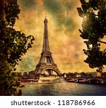 Eiffel Tower in Paris, France. Vintage, retro style - stock photo