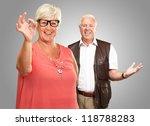 happy senior couple isolated on ... | Shutterstock . vector #118788283