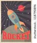 vintage rocket vector/illustration - stock vector