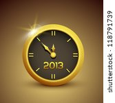 Gold vector clock illustrations 2013 new year - stock vector