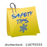 safety tips post it sign illustration design over white - stock photo