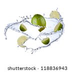Fresh Limes With Water Splash...