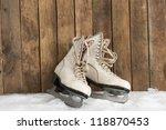 old ice skates against an... | Shutterstock . vector #118870453