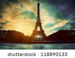 Eiffel Tower in Paris, Fance. Vintage, retro style. View from Champ de Mars - stock photo