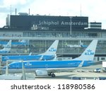 AMSTERDAM - OCTOBER 6: KLM plane being loaded at Schiphol Airport October 6, 2012 in Amsterdam, Netherlands. There are 163 destinations served by KLM, many are located in the Americas, Asia and Africa - stock photo