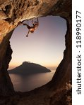 rock climber at sunset.... | Shutterstock . vector #118990177
