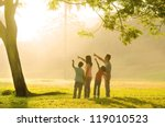 an asian family pointing to... | Shutterstock . vector #119010523