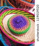 Hats in a traditional Andean market products. Chile, - stock photo