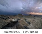 Storm over the desert of Bardenas - stock photo
