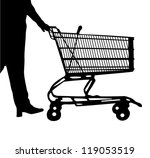 Silhouette of the man following purchases with a wheelbarrow - stock vector