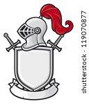 medieval knight helmet  shield  ... | Shutterstock .eps vector #119070877