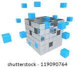 Building Blocks. Abstract cube assembly. Metal and Blue. - stock photo