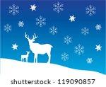 vector christmas card with deer | Shutterstock .eps vector #119090857