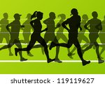 Man and women marathon runners silhouettes in sport stadium landscape background illustration vector