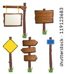 set of wooden road signs | Shutterstock .eps vector #119123683