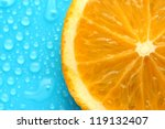 slice of lime with drop on blue ... | Shutterstock . vector #119132407