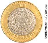 Ten Mexican Peso Coin Isolated...