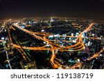 aerial view of expressway in bangkok thailand - stock photo