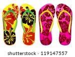 vector colorful flip flops  ... | Shutterstock .eps vector #119147557