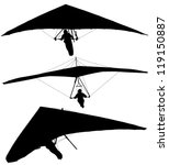 Hang Glider Silhouette On Whit...
