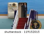 BANGKOK - NOV 18: US President Barack Obama arrives at Don Muang International Airport on the first day of his three-nation Southeast Asia tour on November 18, 2012 in Bangkok, Thailand. - stock photo