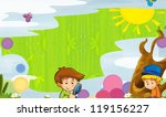 young happy kids   kindergarten ... | Shutterstock . vector #119156227