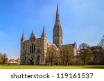 Salisbury Cathedral Front view and park on sunny day, South England - stock photo