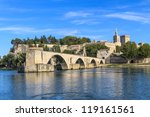 Avignon Bridge with Popes Palace, Pont Saint-B���©nezet, Provence, France - stock photo