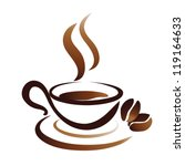 sketch of coffee cup, stylized vector icon - stock vector