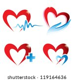 set of hearts icons, medicine concept - stock vector