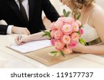 bride signing marriage license... | Shutterstock . vector #119177737