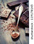 Cocoa Powder and Dark Chocolate - stock photo