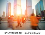The rush of  people on the Shanghai Lujiazui flyover - stock photo