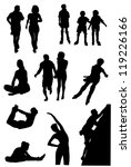 Collection of silhouettes of people of leaders active way of life - stock vector