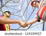 two power line tower workers...   Shutterstock . vector #119239927