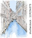 Venice - water canal, old buildings & gondola away. Vector drawing - stock vector