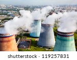 Aerial view of pipes of the thermal power plant - stock photo