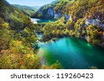 Lakes in forest. Crystal clear water. Plitvice lakes, Croatia - stock photo