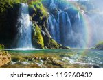 Waterfall in forest. Crystal clear water. Plitvice lakes, Croatia - stock photo