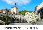 KARLOVY VARY, CSZECH REPUBLIC -  SEPTEMBER 20: Hot springs colonnade on September 20, 2012 in Karlovy Vary. Karlovy Vary historically famous for its hot springs (13 main springs, about 300 smaller ) - stock photo