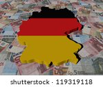 Germany Map flag on Euros illustration - stock photo