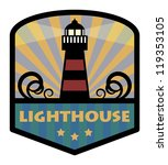 Label with lighthouse, vector illustration - stock vector