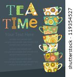 tea party card design. vector... | Shutterstock .eps vector #119354527