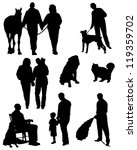 Collection of silhouettes of people with animals and married couples - stock vector