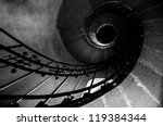 Round stairs in a church angle shot - stock photo
