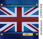 Union Jack motif of denim background with stitch detail and rivets. Made in Great Britain concept. EPS10 vector format. - stock vector