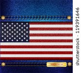 Stars and Stripes motif of denim background with stitch detail and rivets. Made in the USA concept. EPS10 vector format. - stock vector